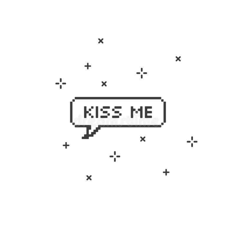 Kyssa mig i konst för PIXEL för bit för anförandebubbla 8 royaltyfri illustrationer