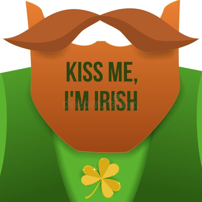 Kyssa mig, im irländare Troll för helgonPatrick Day tecken med den gröna dräkten, det röda skägget och ingen framsida Bakgrund fö vektor illustrationer