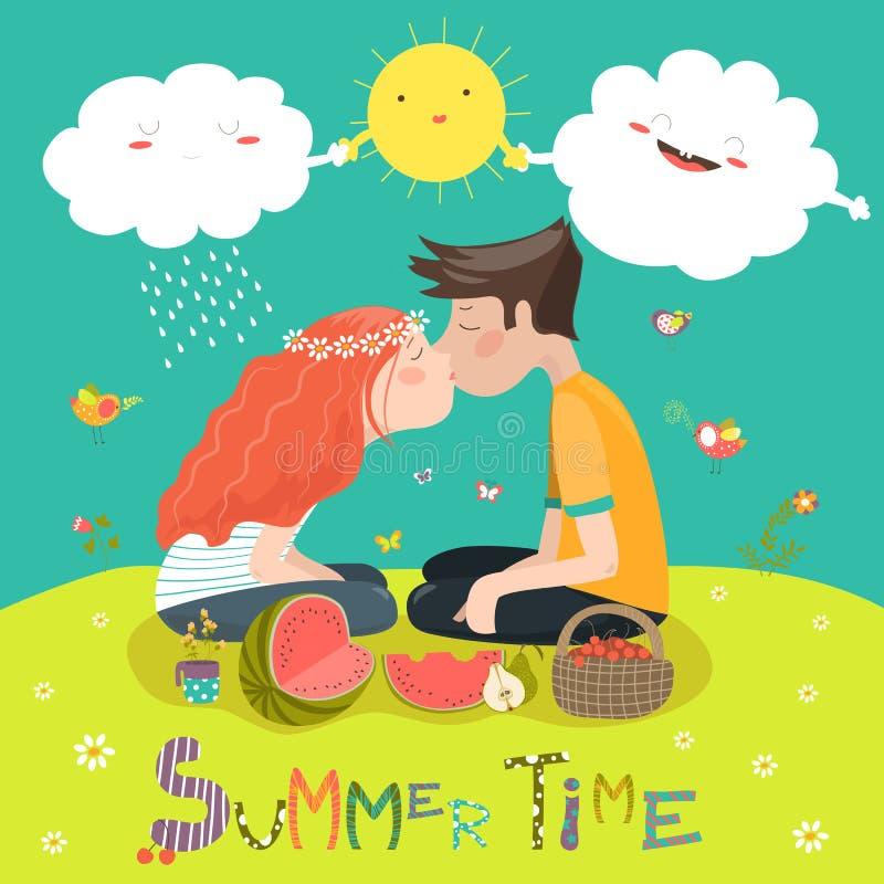 kyssande barn för par vektor illustrationer