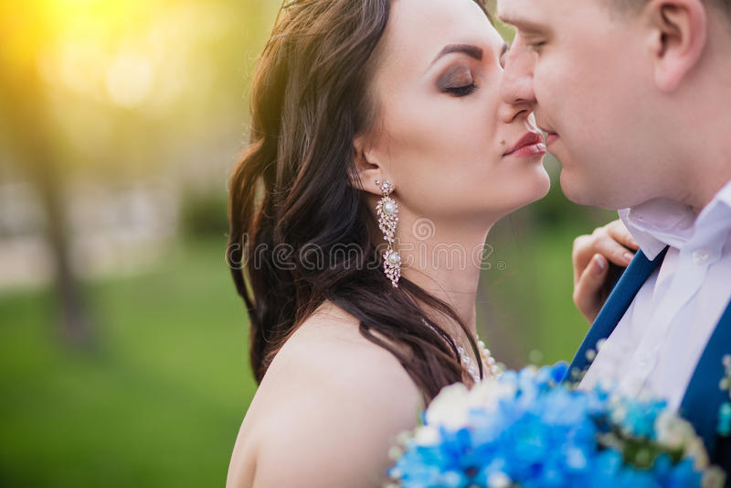 Kyssande brölloppar i vårnaturstående fotografering för bildbyråer