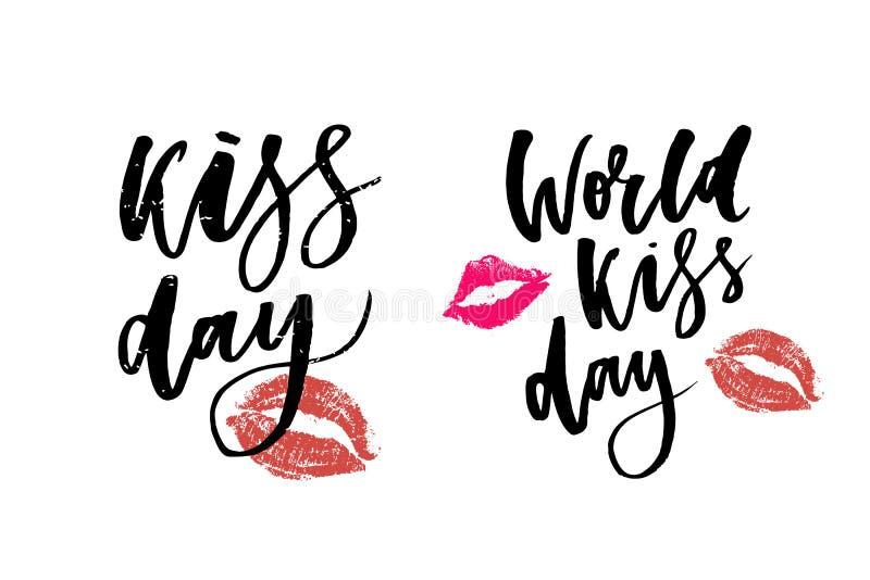 Kyssande dagbokstäver för värld i kanter Mall för kortet, affisch, tryck vektor illustrationer