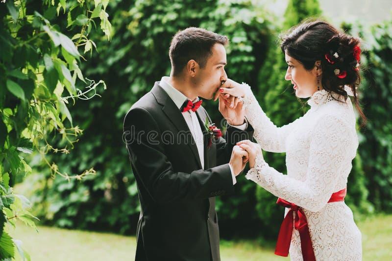 Kyssande hand för brudgum av bruden i trädgård arkivfoto