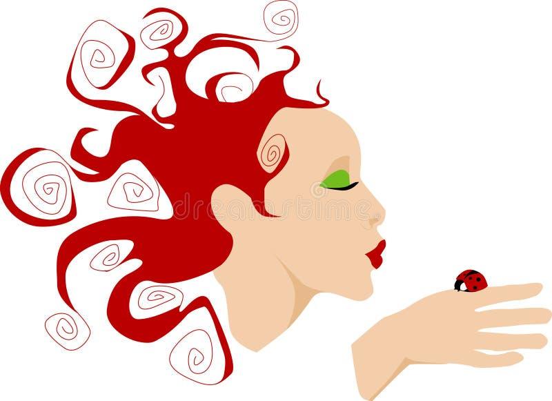 kyssande ladynyckelpiga stock illustrationer