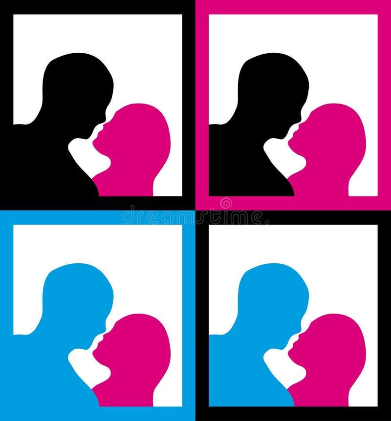 kyssande male silhouettes för kvinnlig vektor illustrationer