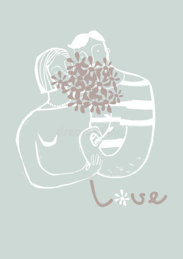Kyssande par som nederlag bak en bukett av blommor stock illustrationer