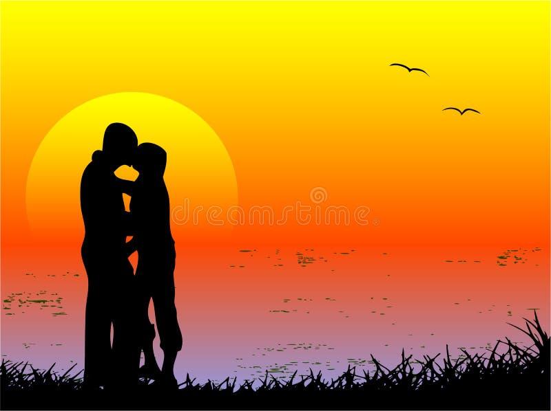 kyssande vänner stock illustrationer