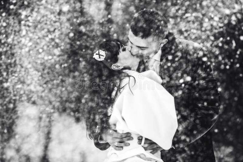 Kyssar för ett brölloppar erbjuder i en snökastby arkivfoton