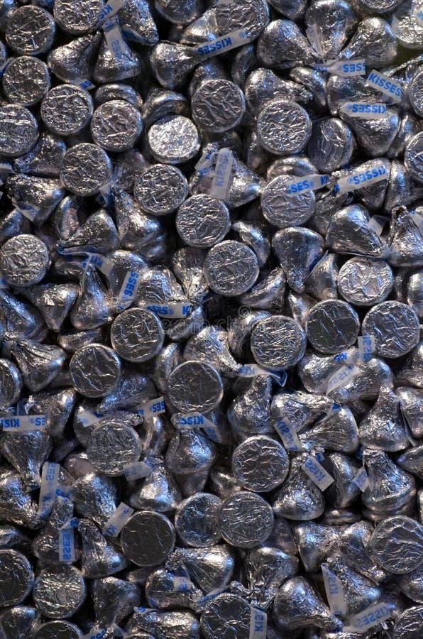 Kyssar för värld för choklad för Hershey ` s arkivbild