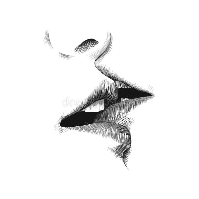 Kyssen skissar vektorillustrationen, utdragen svartvit klotterteckning för hand Unga par kysser, kanter och munslutet upp vektor illustrationer