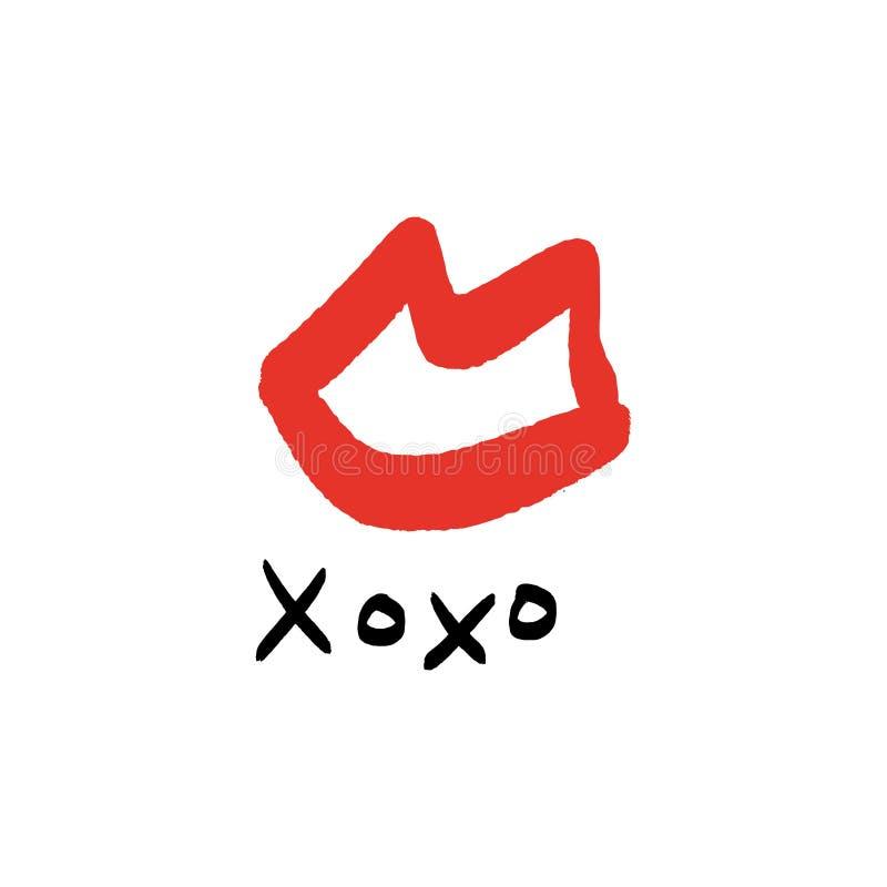 Kysser utdragna röda kanter för hand stilfullt symbol, kramar och kysstext royaltyfri illustrationer