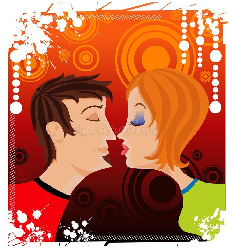 kyssförälskelsetonåringar royaltyfri illustrationer
