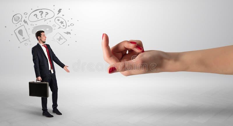 Kysst aff?rsman med att agna handbegrepp fotografering för bildbyråer