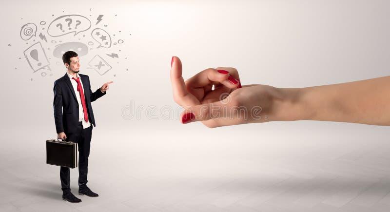 Kysst aff?rsman med att agna handbegrepp arkivbilder