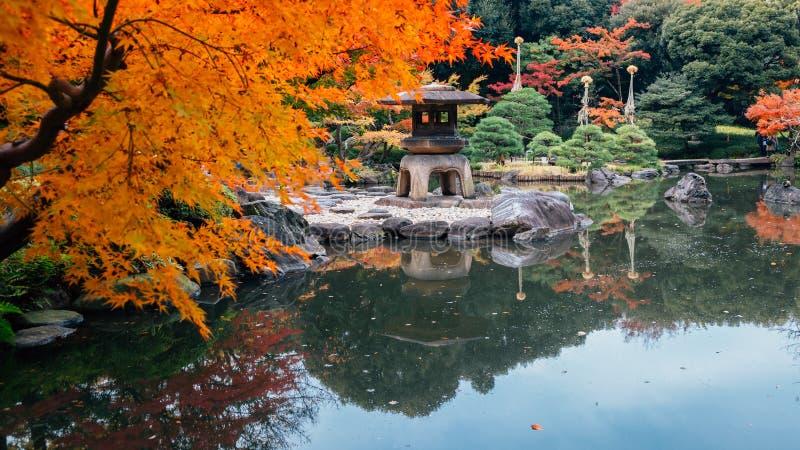 Kyu古川市庭院秋天在东京,日本 图库摄影