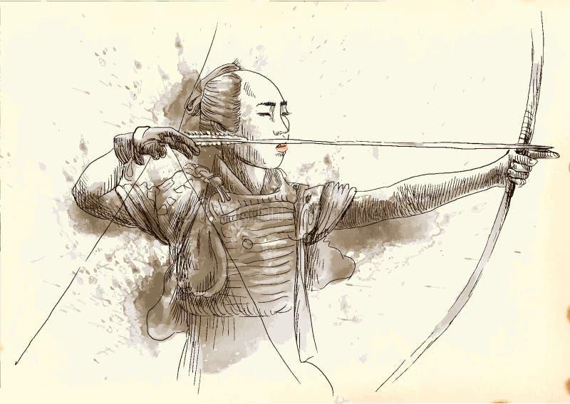 Kyudo ilustración del vector
