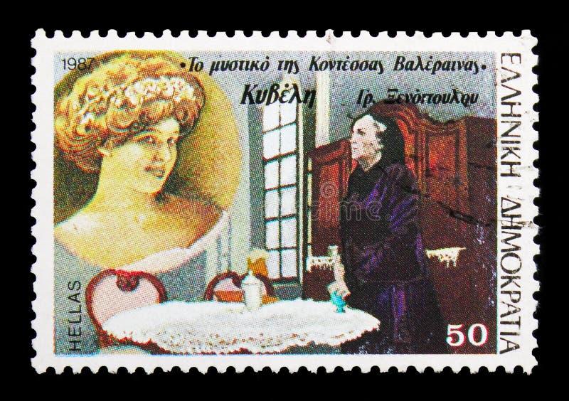 Kyveli in het geheim van Gravin Valeraina van Gr. Xenopoulo, Gr. royalty-vrije stock afbeelding