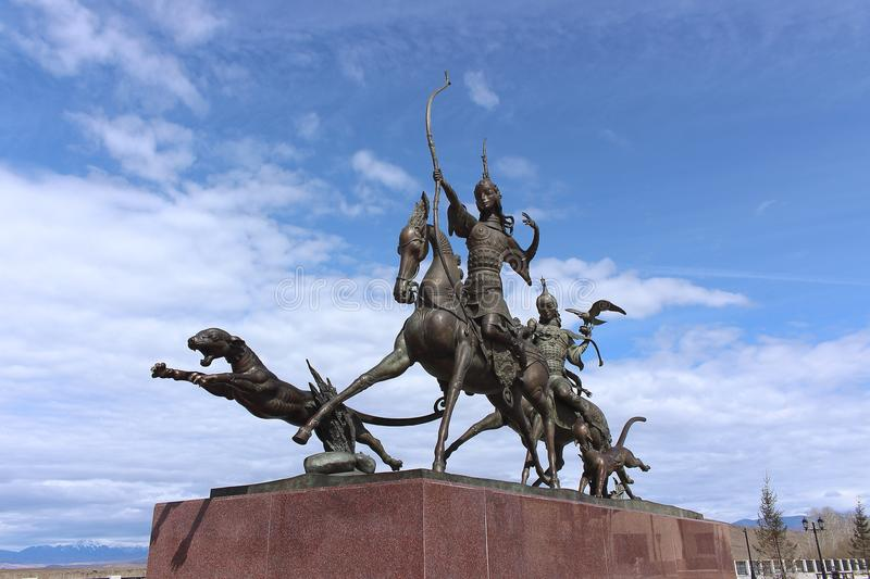 "The sculptural ensemble `Tsar hunt` by the famous Buryat sculptor Dashi Namdakov located in the ""Heart of Asia"", Kyzyl. Kyzyl, Tuva, Russia - April 20 royalty free stock photography"