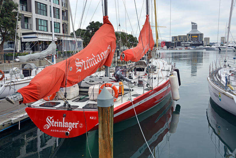 KZ2 Maxi Round The World Yacht in Viaduct Basin, Auckland stock photography