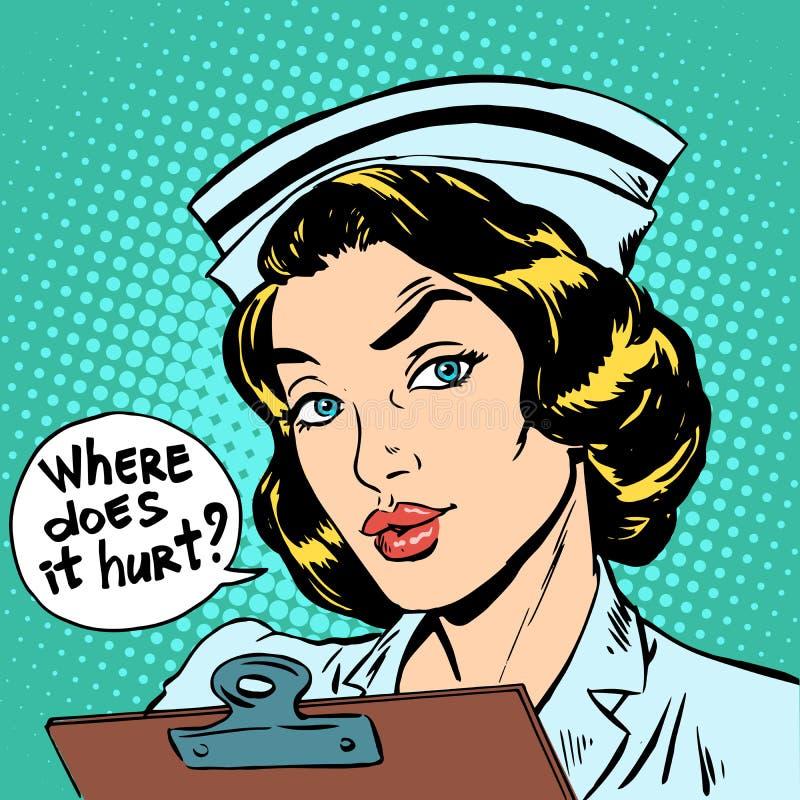 Là où il blesse la question d'infirmière illustration stock