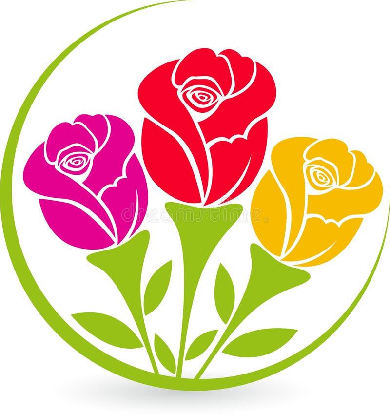 Lá logotipo das rosas ilustração royalty free