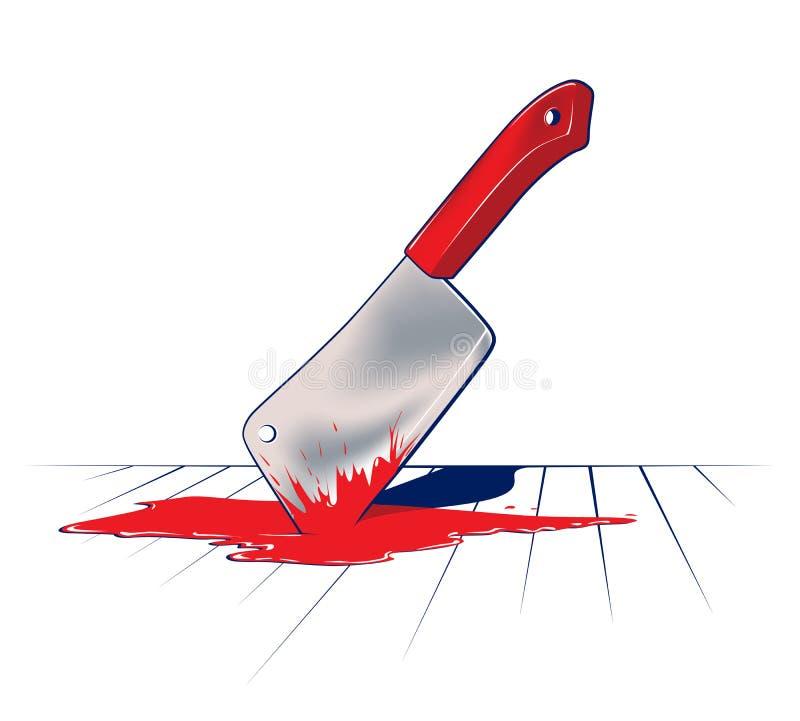 Lámina de cuchillo sostenida de cocina ilustración del vector