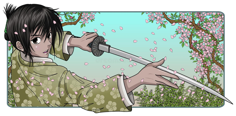 Lámina orgullosa de la explotación agrícola del samurai stock de ilustración