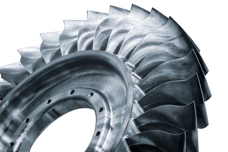 Láminas de acero del propulsor de la turbina Opinión del primer En textura o fondo de B/W Foco seleccionado en primero plano fotos de archivo