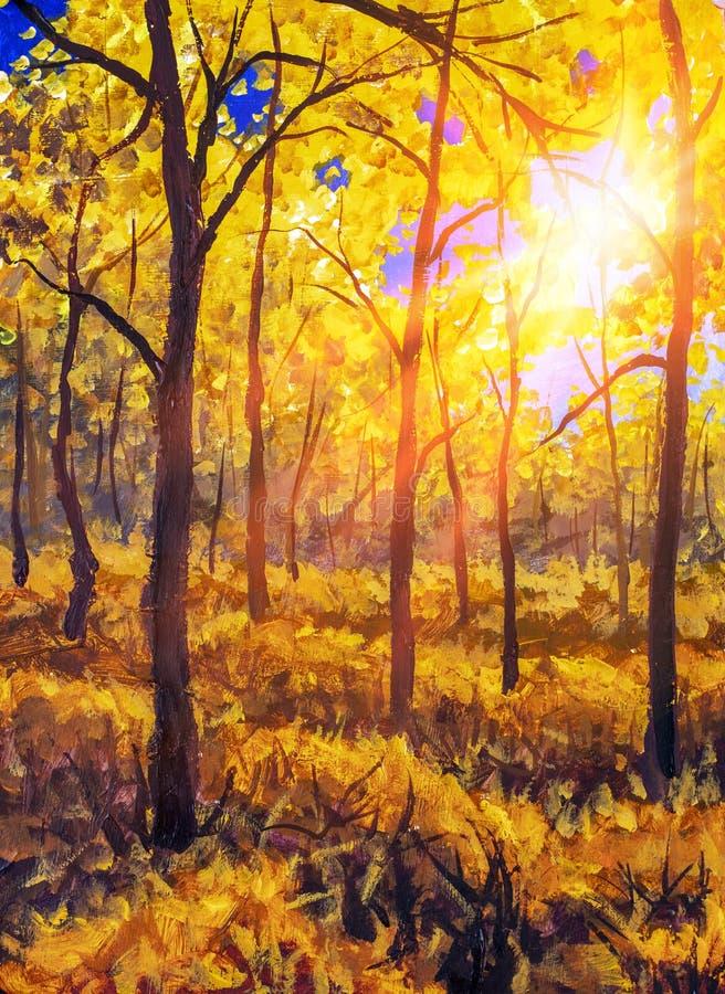 Láminas de pintura de aceite Puesta de sol o amanecer en el paisaje forestal de otoño Sunshine Sunshine Sunlight y rayas a través fotografía de archivo