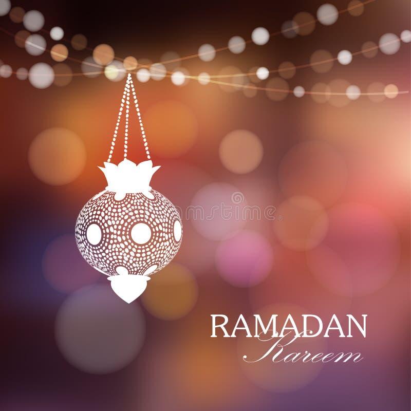 Lámpara árabe iluminada con las luces, fondo del Ramadán stock de ilustración