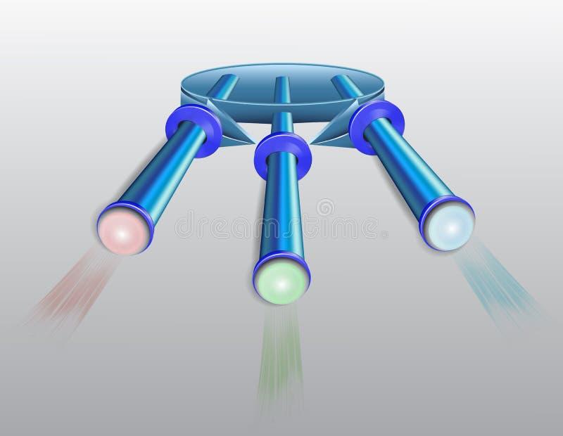 Lámpara abstracta con los diodos coloridos stock de ilustración