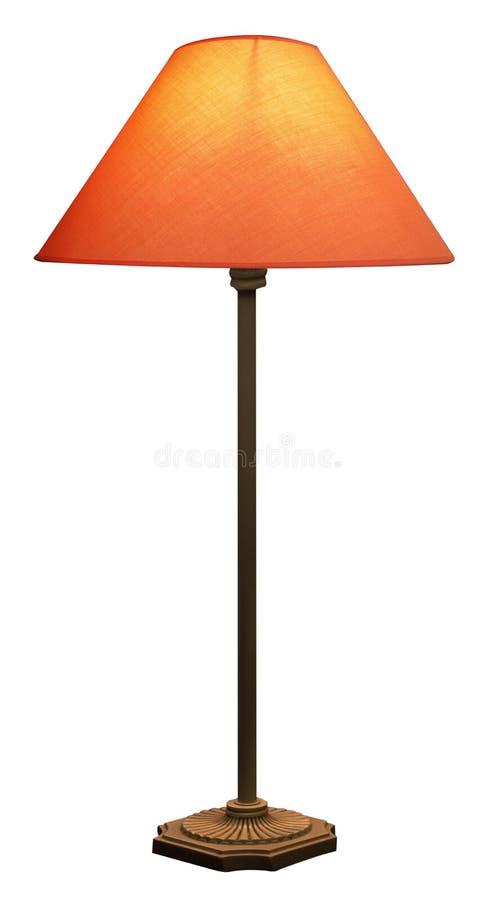 Lámpara alta con la cortina anaranjada imagen de archivo