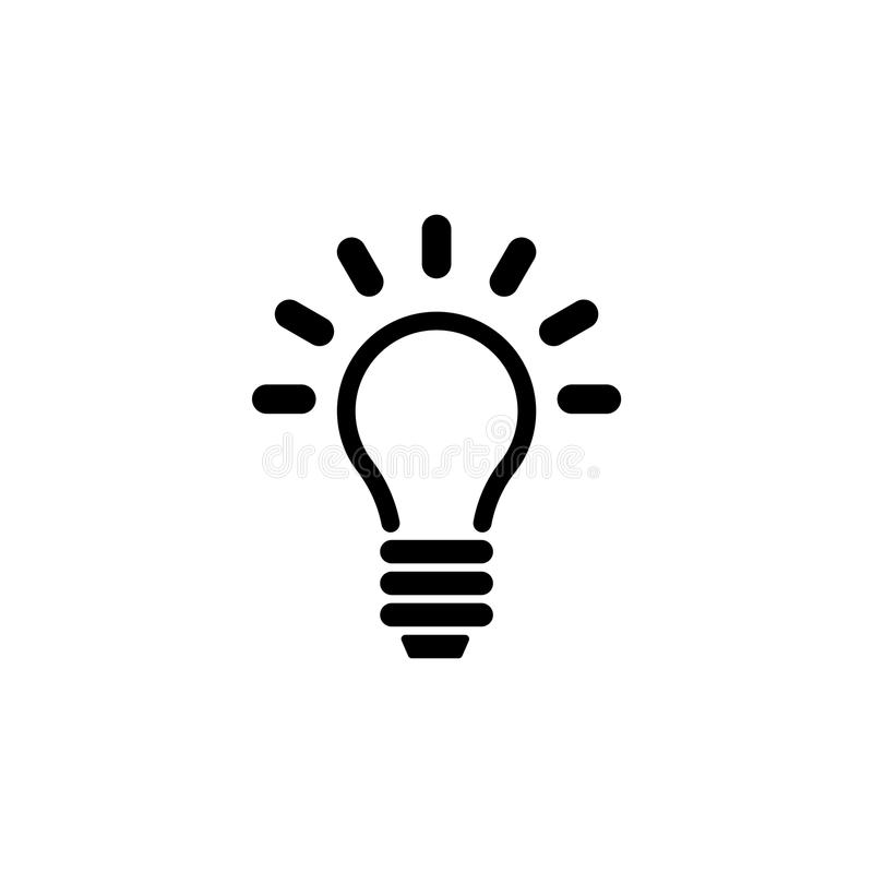 Lámpara, bombilla, icono plano del vector de la idea ilustración del vector