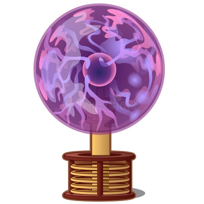Lámpara brillante púrpura de la bola del plasma aislada en el fondo blanco Ejemplo del primer de la historieta del vector libre illustration