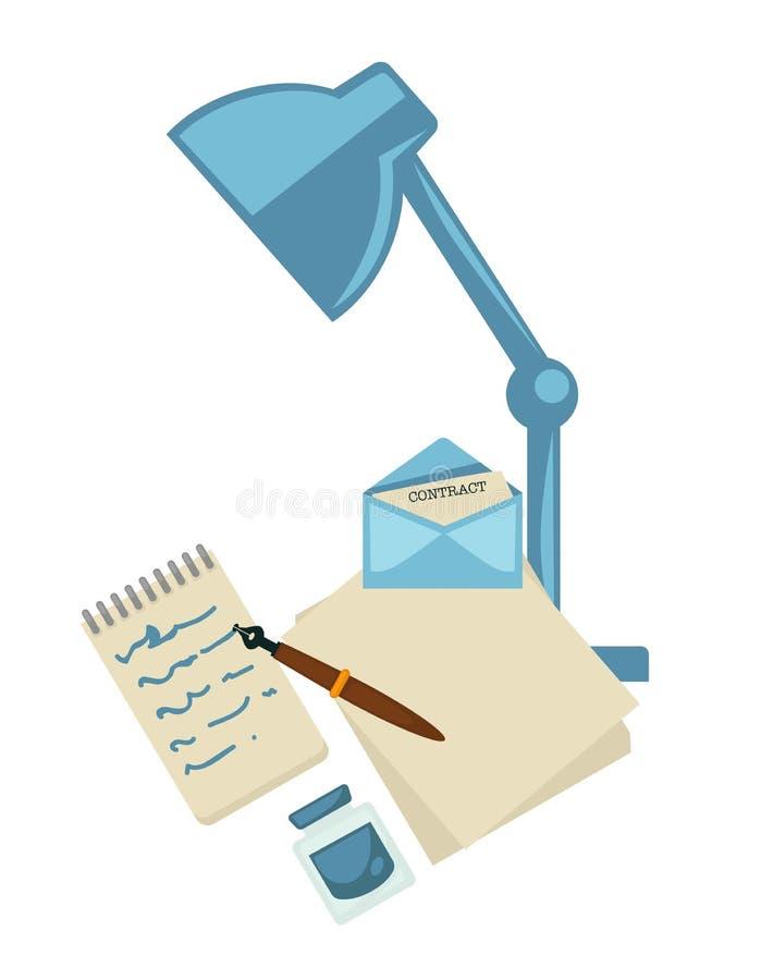 Lámpara con el sobre del cuaderno y de la pluma con la letra ilustración del vector
