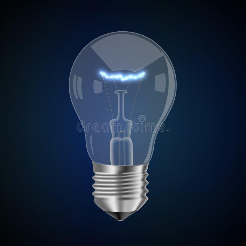 Lámpara con un filamento que brilla intensamente ilustración del vector