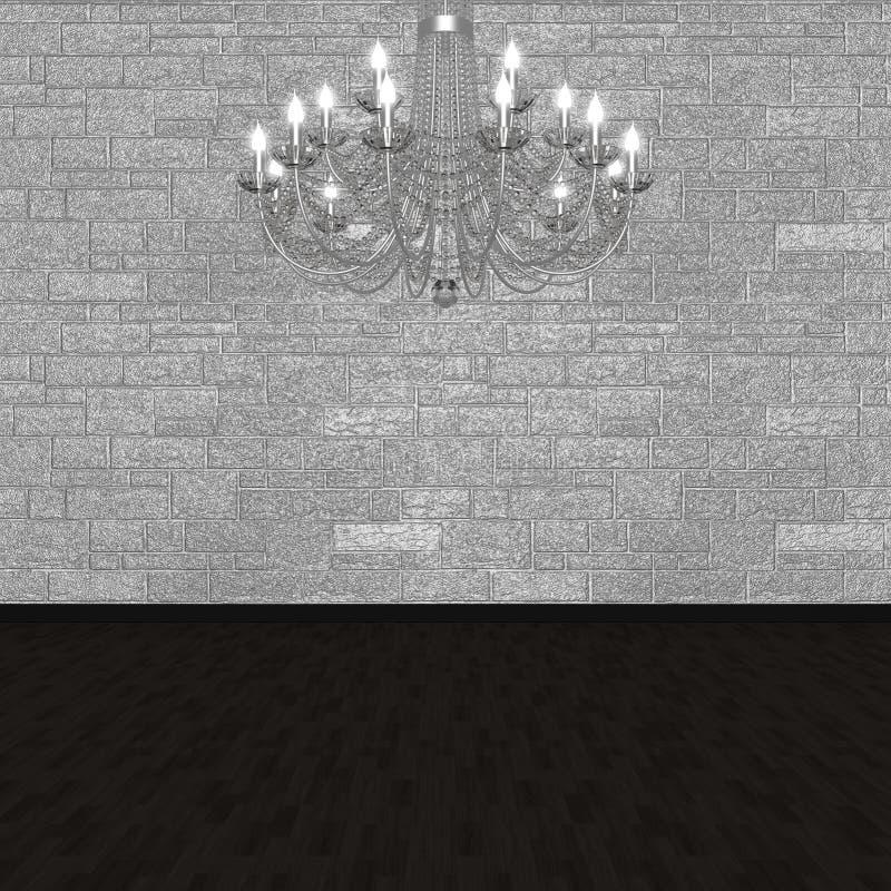 Lámpara contra la perspectiva de una pared de piedra imagenes de archivo
