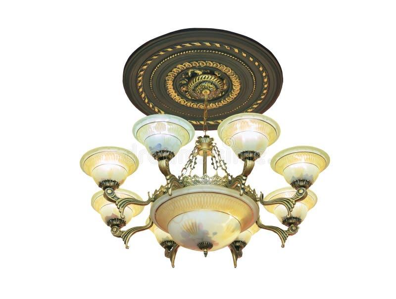 Lámpara cristalina en estilo barroco aislada sobre blanco fotos de archivo libres de regalías