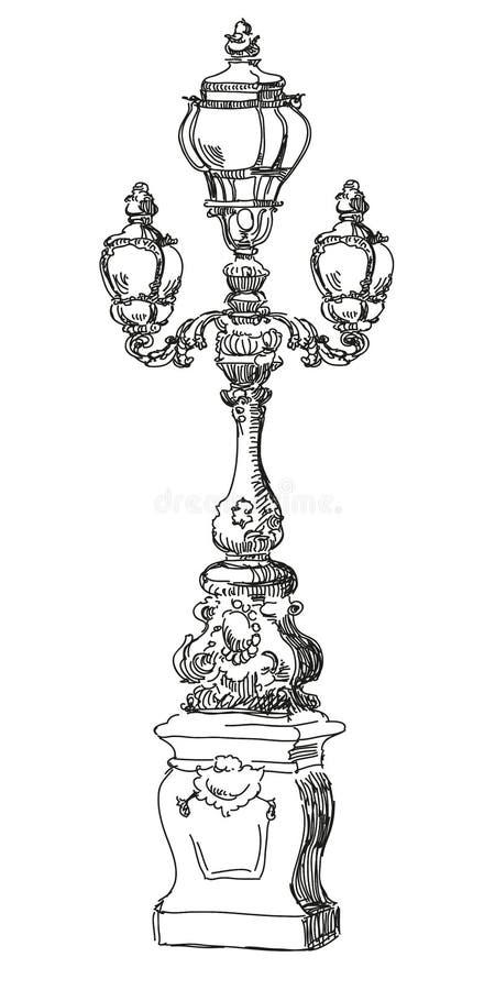 Lámpara de calle del dibujo de la mano en París stock de ilustración