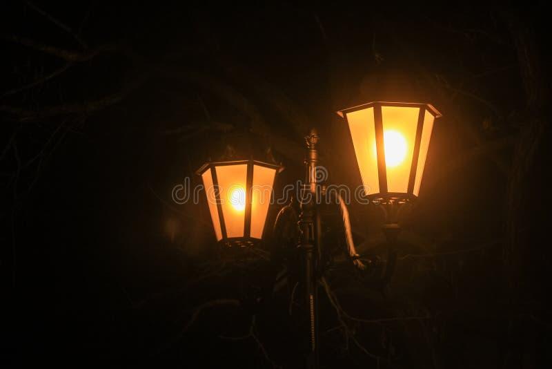 Lámpara de calle en la noche en la ciudad Primer fotografía de archivo
