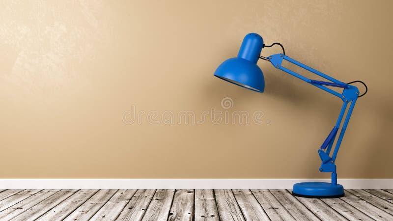 Lámpara de escritorio azul en piso de madera en el cuarto stock de ilustración