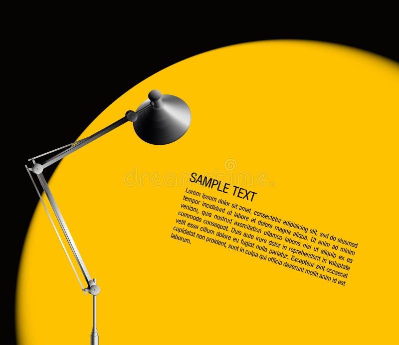 Lámpara de escritorio con la luz ámbar stock de ilustración