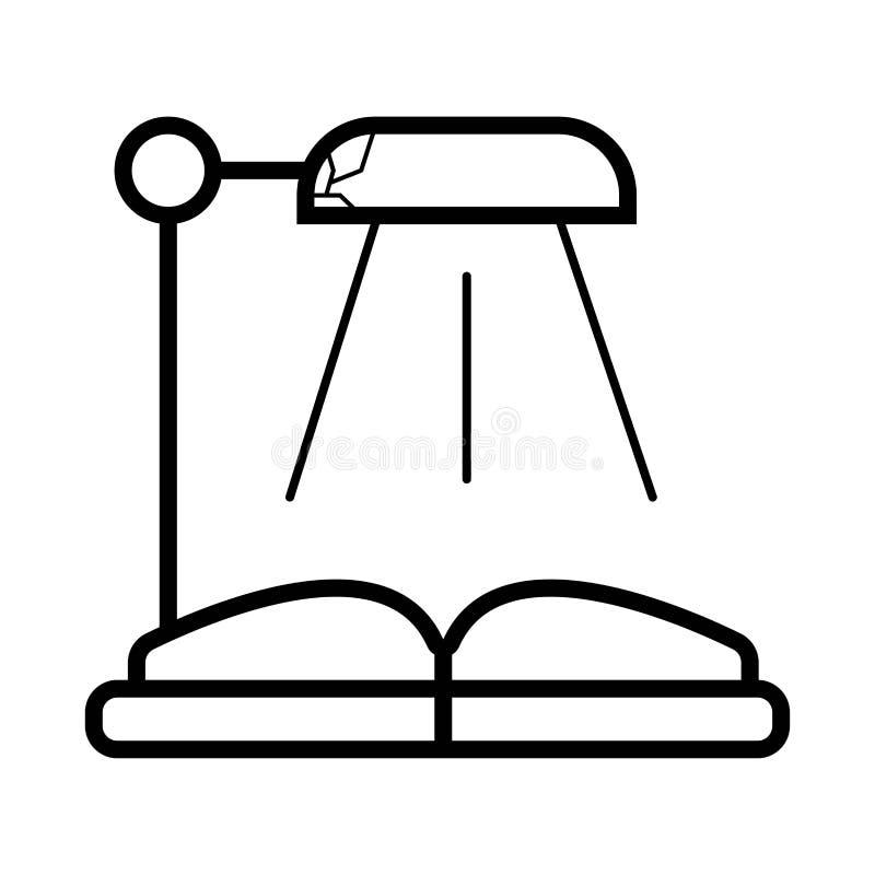 Lámpara de escritorio y un libro abierto ilustración del vector