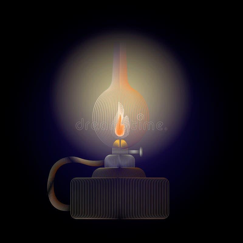 Lámpara de keroseno del vector que brilla intensamente en un fondo oscuro Lámpara retra del aceite libre illustration