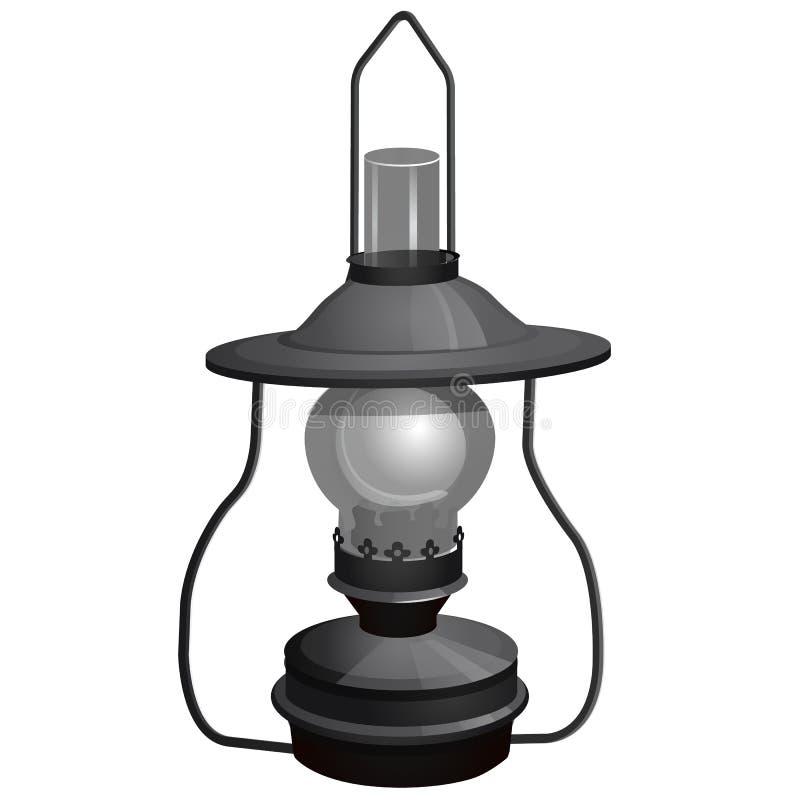 Lámpara de keroseno portátil aislada en el fondo blanco Ejemplo del primer de la historieta del vector libre illustration