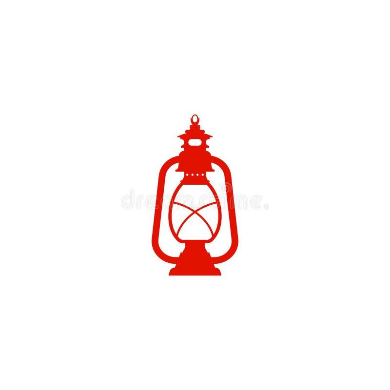 Lámpara de keroseno retra roja, linterna del vintage aislada en blanco Icono de la imaginación libre illustration