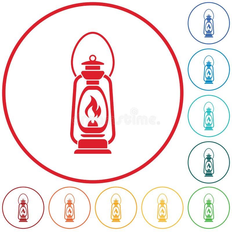 Lámpara de keroseno vieja antigua aislada Diseño retro stock de ilustración