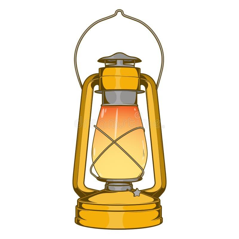Lámpara de keroseno vieja de cobre amarillo antigua aislada en un fondo blanco Línea arte coloreada Diseño retro ilustración del vector