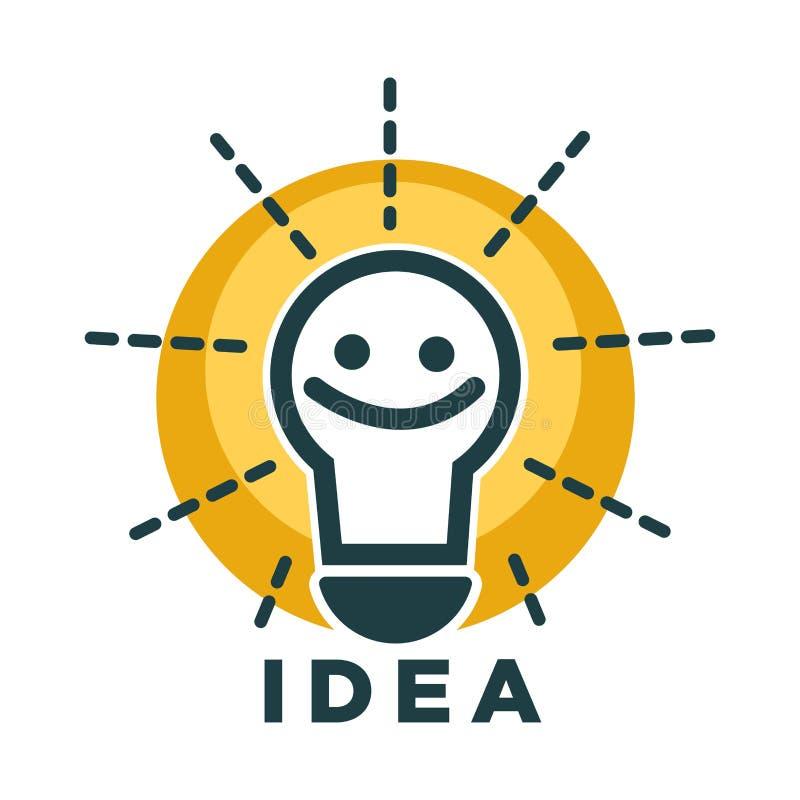 Lámpara de la idea o bombilla con el icono del vecor de la cara de la sonrisa stock de ilustración