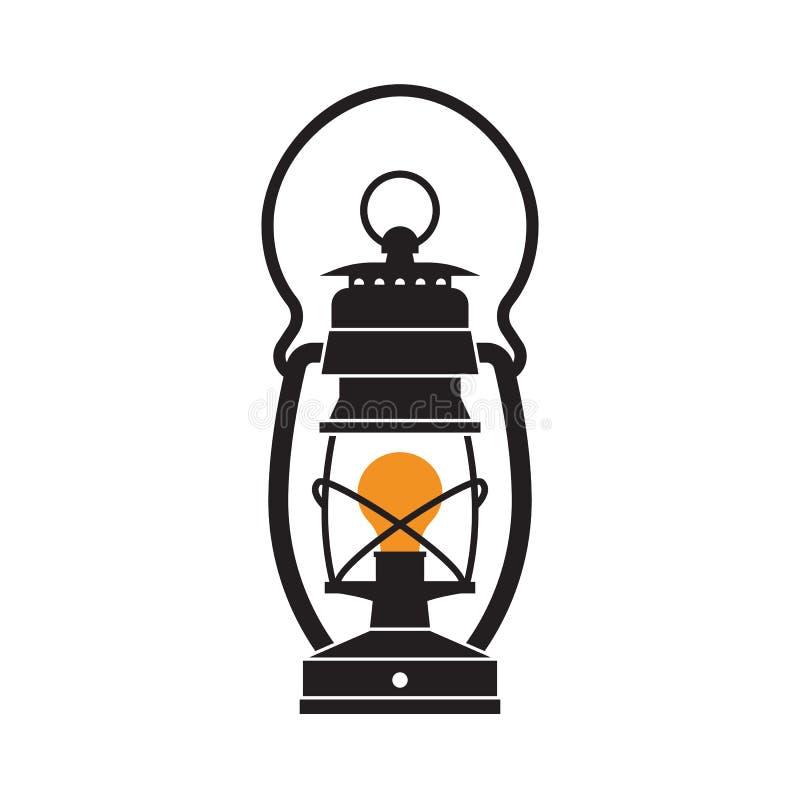 Lámpara de la linterna que acampa o de gas ilustración del vector