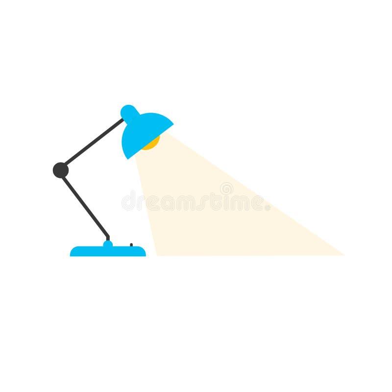 Lámpara de la oficina de la tabla Mesa eléctrica Diseño plano del ejemplo del vector Aislado en el fondo blanco Lámpara de la sil ilustración del vector
